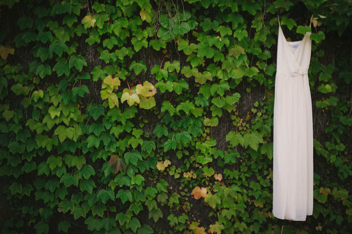 wedding dress hanging on hedge