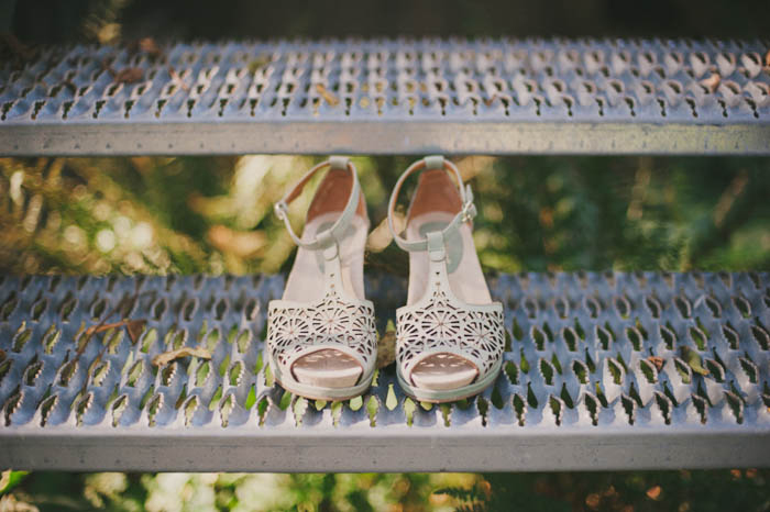 wedding shoes on metal steps