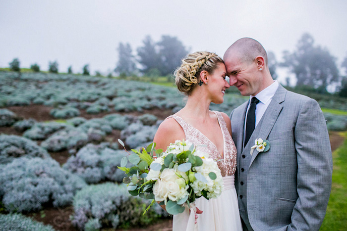 lavender farm wedding portrait