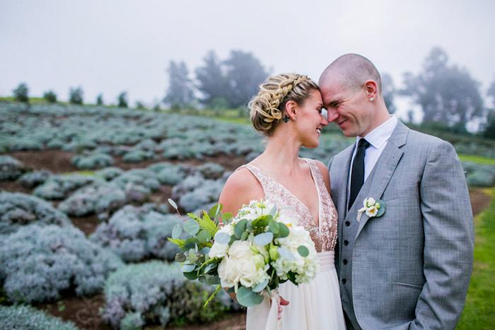 lavender farm wedding portrait