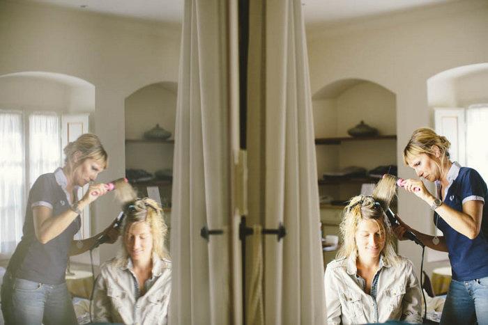 bride gettingher hair done