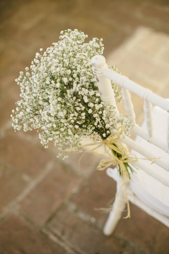 baby's breath on guest chairs