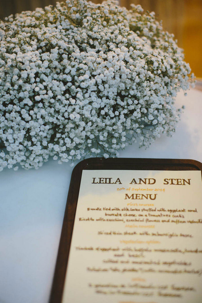 Italian wedding menu