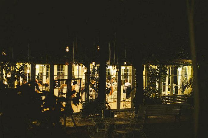Italian wedding reception at night