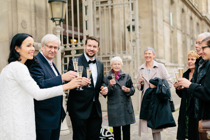 champagne toast in Paris square