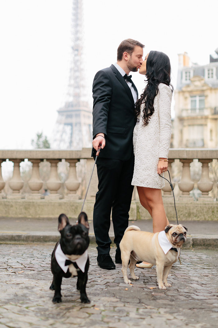 bride and groom portrait in front of eiffel tower with their dogs