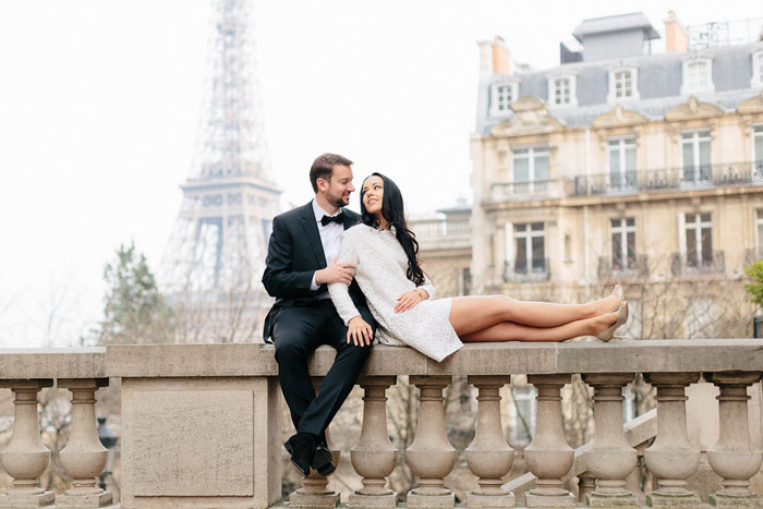 bride and groom portrait in front of eiffel tower