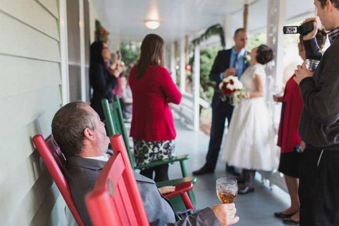 wedding guests on the porch