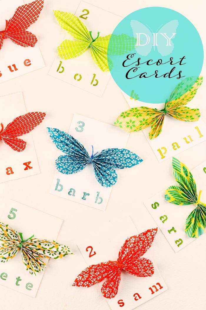 diy butterfly escort cards