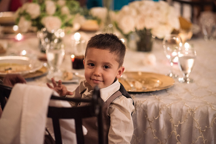 kid at wedding reception
