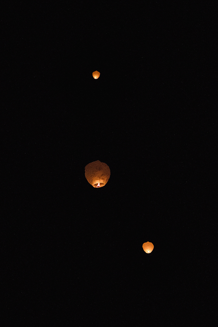 wish lanterns in the sky