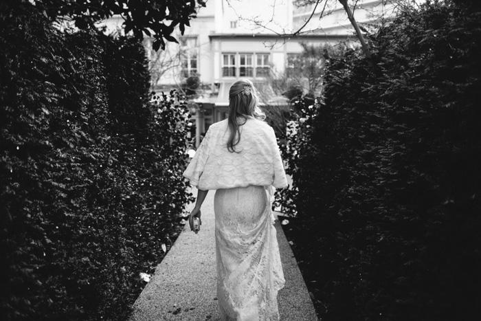 bride walking to meet her groom