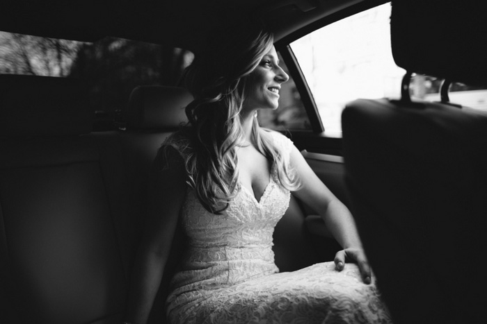 bride riding in car