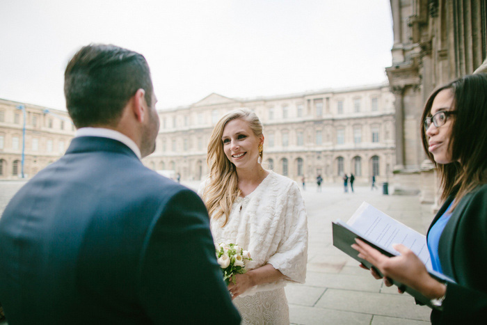 elopement ceremony at the Louvre