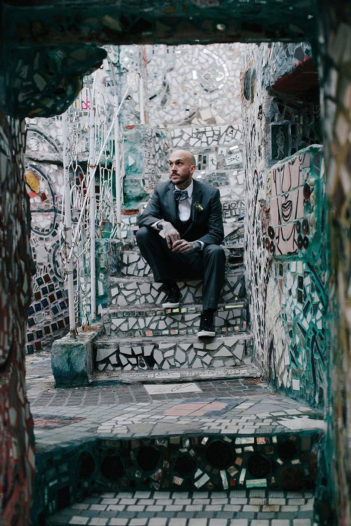 groom portrait at the Magic Gardens
