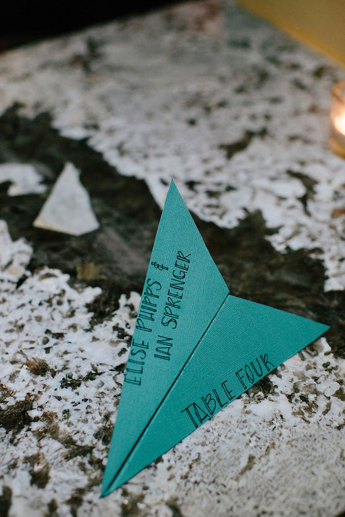paper airplane place card