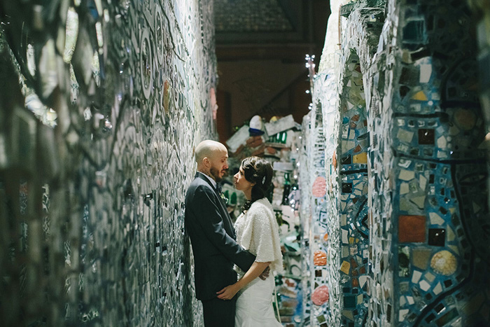 bride and groom portrait at the Magic Gardens