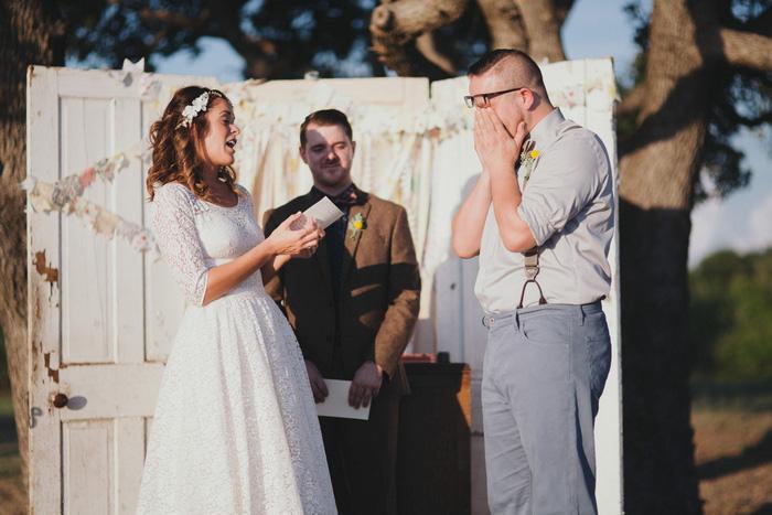 emotional groom at wedding ceremony