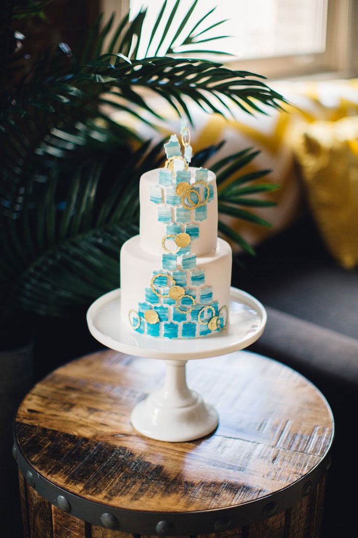 blue and white geometric wedding cake