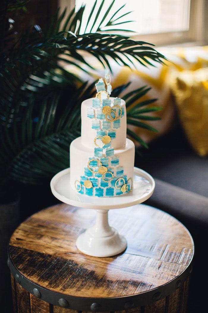 blue and white geometric wedding cake