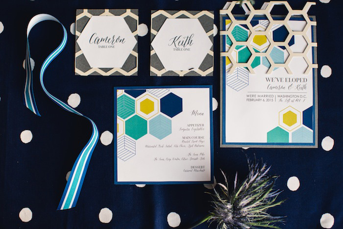 modern geometric wedding invitation suite
