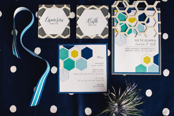 modern geometric wedding invitation suite