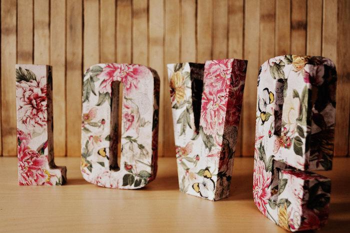 floral print letters
