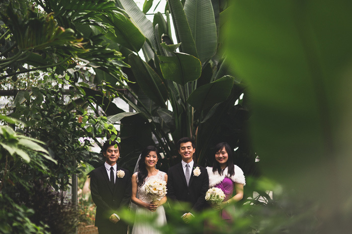 wedding party portrait in conservatory