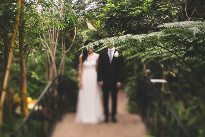 bride and groom in conservatory