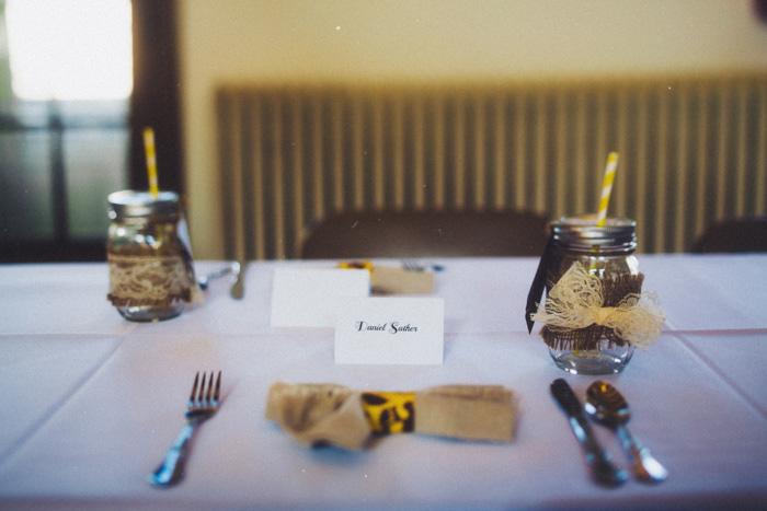 community centre wedding reception table setting