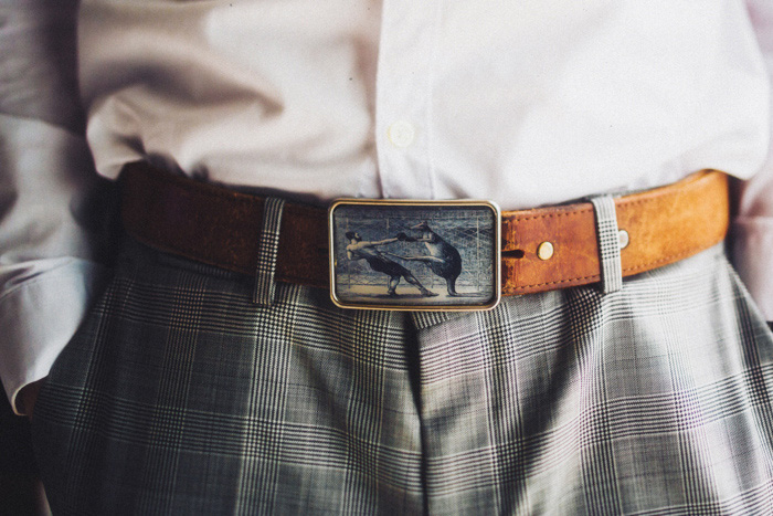 groom's belt buckle