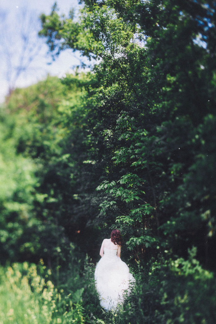 bride entering the woods
