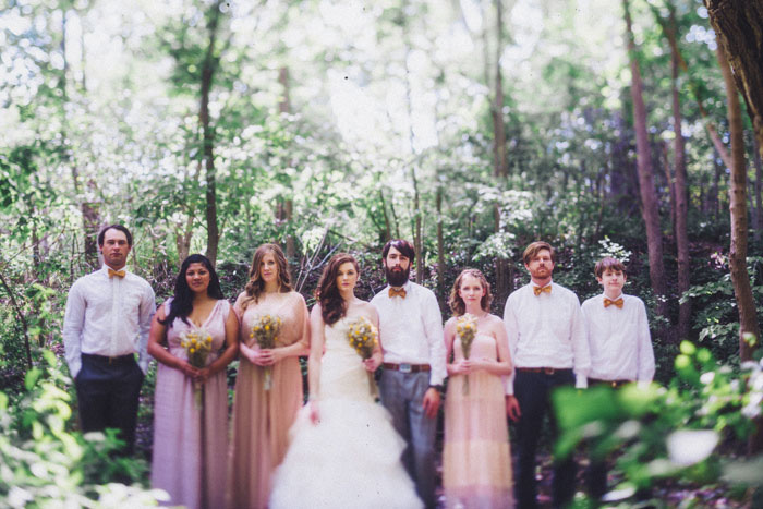 wedding party portrait in the woods