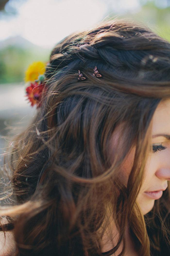 close-up of bride's hair