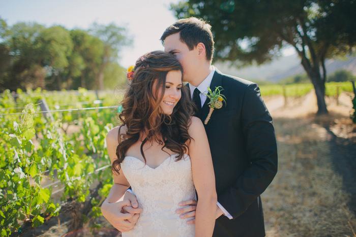 bride and groom portrait in vineyard