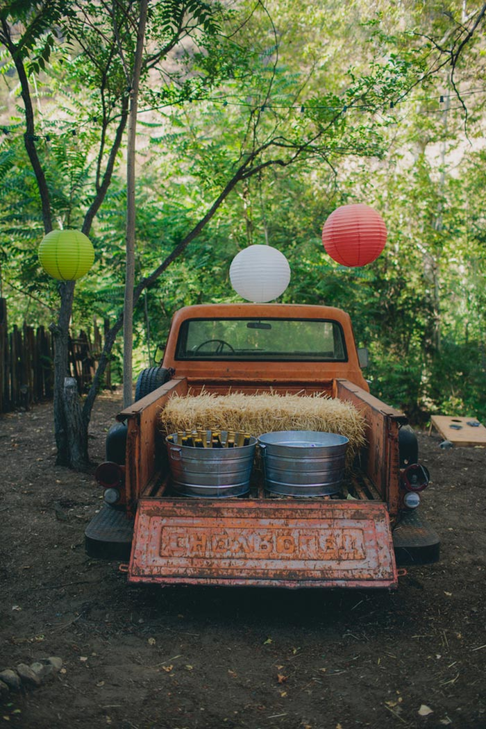 pick-up truck with buckets of beer