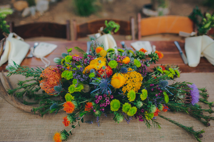 colorful wedding centerpiece