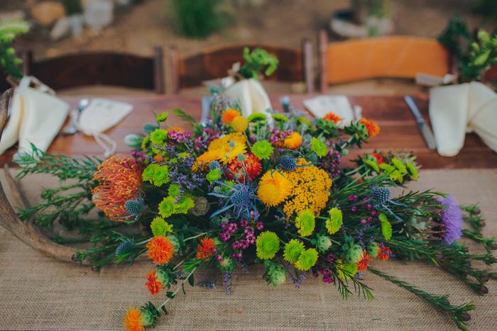 colorful wedding centerpiece