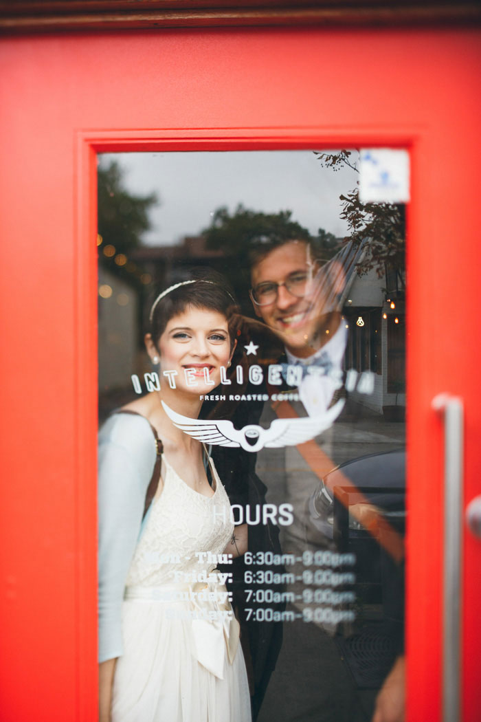 bride and groom in Intelligentsia Coffee