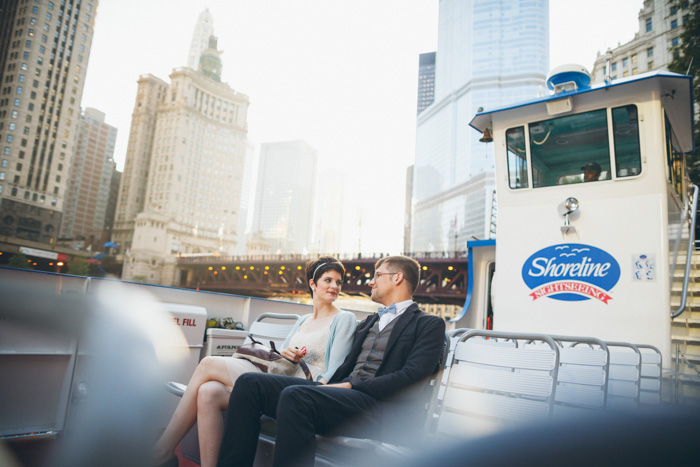 bride and groom on ferry