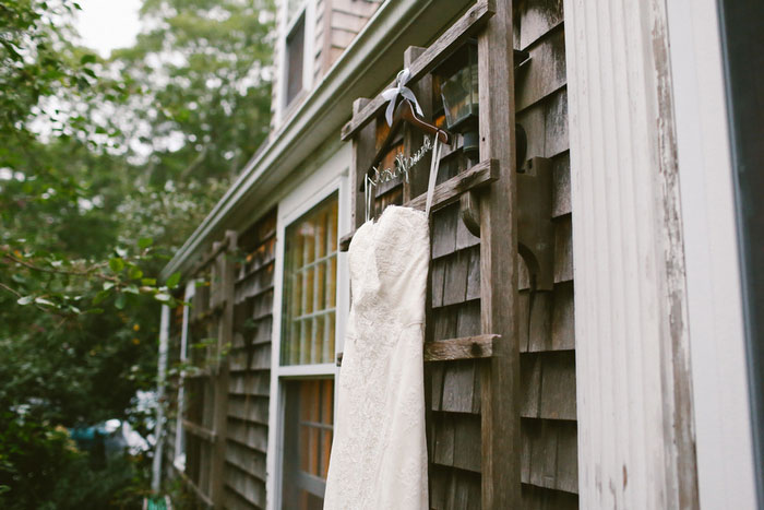wedding dress on custom hanger