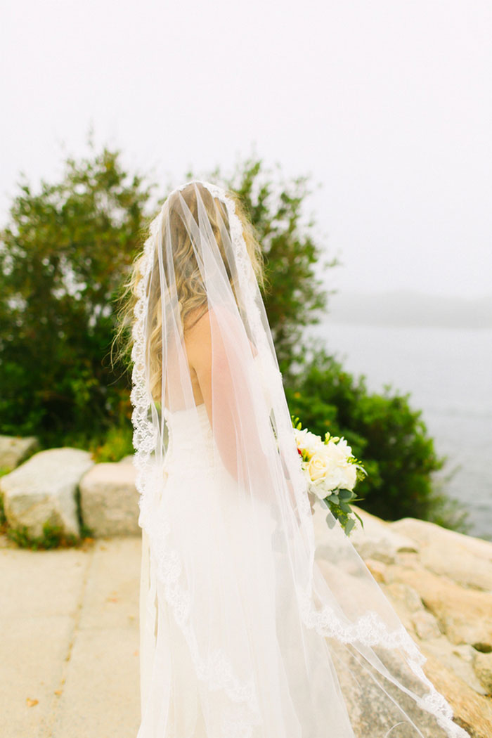bride looking out to the sea