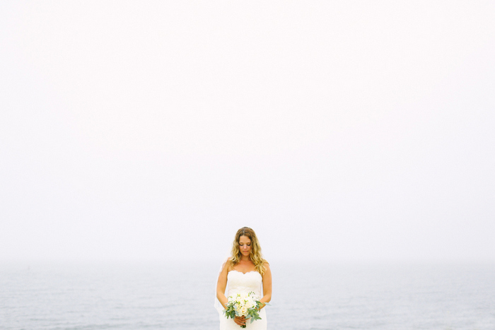 bride portrait in front of the sea