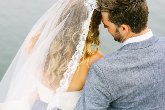 intimate wedding portrait by the sea