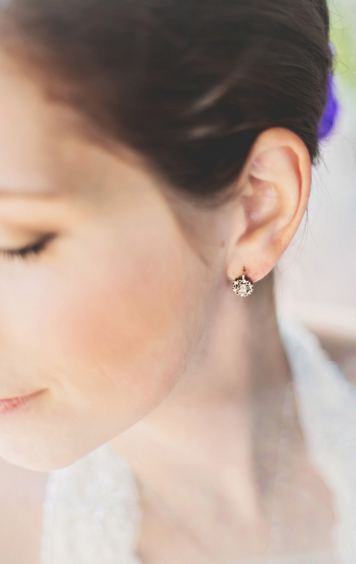 bride's diamond earrings