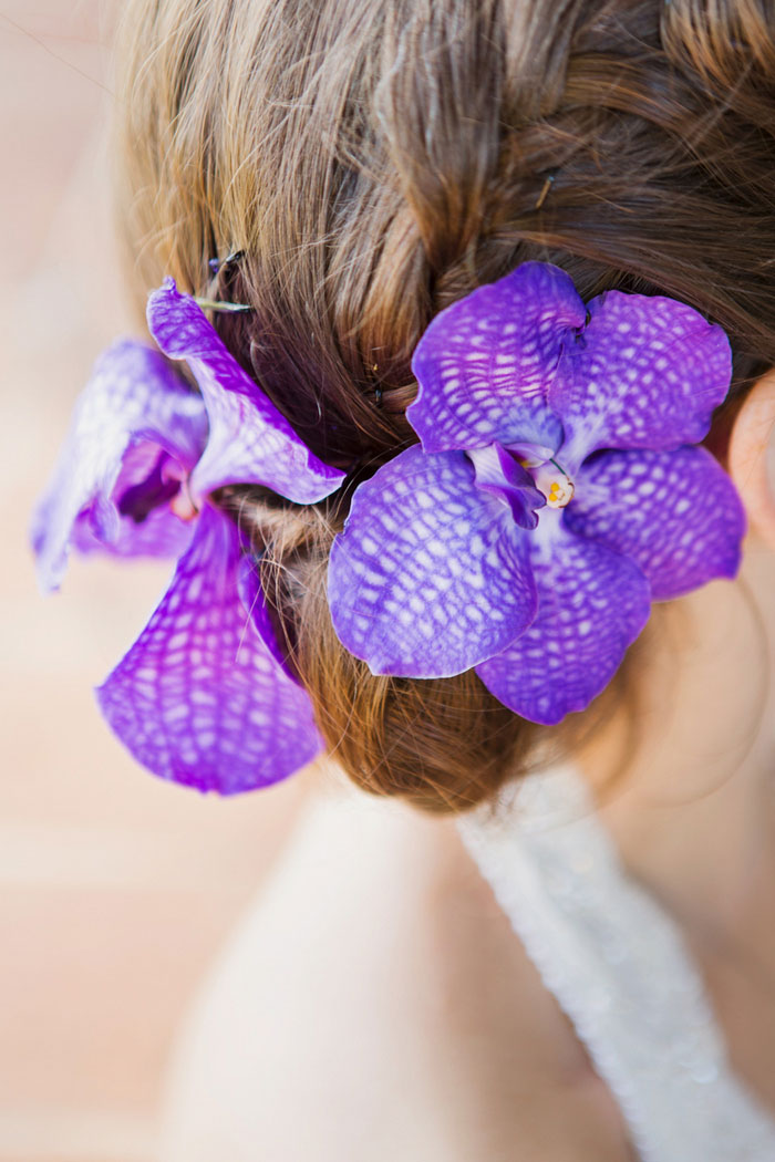 orchids in bride's hair
