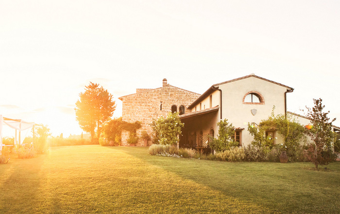 Tuscan villa at sunset