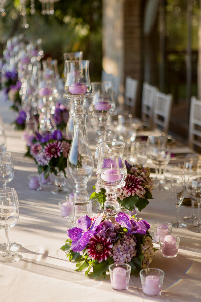 wedding tablescape with purple flowers