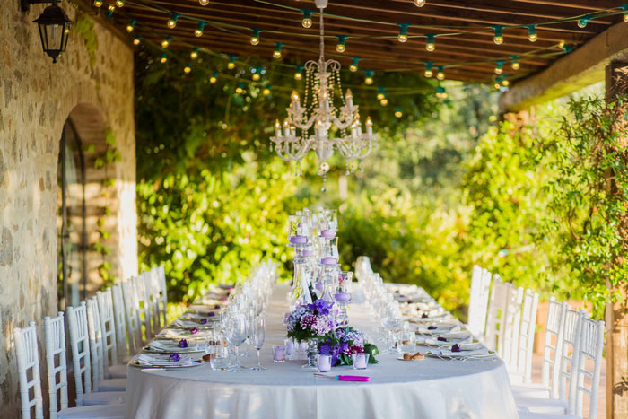 wedding tablescape with chandelier