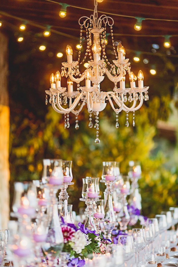 chandelier over reception table